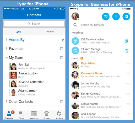 Знімки екрана програм Lync і Skype для бізнесу, розташовані поруч