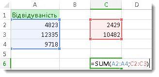 Використання функції SUM із двома діапазонами чисел