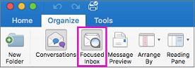 Кнопка Focused Inbox (Важливі вхідні) на стрічці вкладки Organize (Упорядкування)