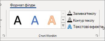 """Група параметрів """"стилі WordArt"""""""