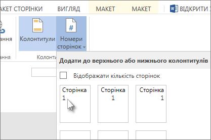 Зображення елемента інтерфейсу, що дає змогу вставити в колонтитули номери сторінок.