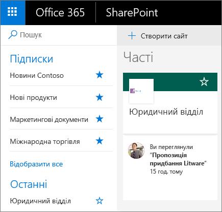 """Знімок екрана: домашня сторінка """"сучасний режим SharePoint""""."""