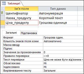 Правило перевірки поля в конструкторі таблиць Access