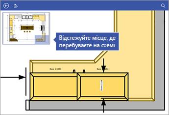 Вікно панорамування у верхньому лівому куті екрана дає змогу стежити за тим, де на схемі ви перебуваєте.