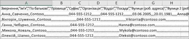 Зразок файлу CSV, збережений у форматі XLS