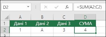 Правильна побудова формули.  Замість =A2+B2+C2 клітинка D2 містить формулу =SUM(A2:C2).