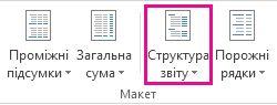 Кнопка ''Структура звіту'' на вкладці ''Конструктор''