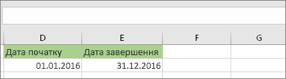 Дата початку у клітинках D53 – 1/1/2016, дата завершення – у клітинках E53 – 12/31/2016