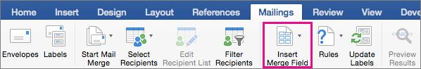 "Кнопка ""Insert Merge Field"" (Додати поле злиття) на вкладці ""Mailings"" (Розсилки)"