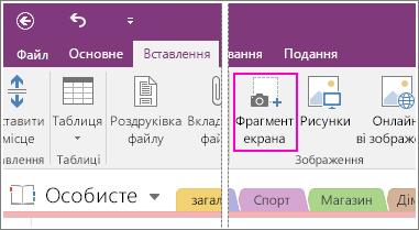 Знімок екрана: кнопка вставлення фрагмента екрана в програмі OneNote2016