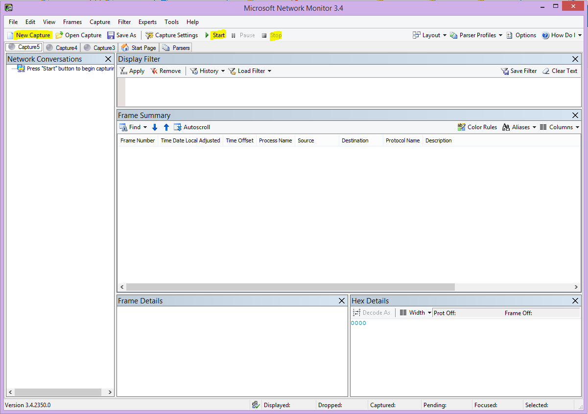 Інтерфейс користувача Microsoft Network Monitor із виділеними кнопками New Capture (Новий запис), Start (Почати) і Stop (Зупинити).