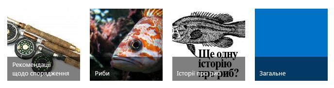 Вкладки з чотирма категоріями, кожна із зображенням рибної ловлі та назвою