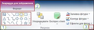Приклад деяких інших функцій стрічки у програмі PowerPoint 2010.