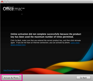 Office for Mac Activate by phone screenshot