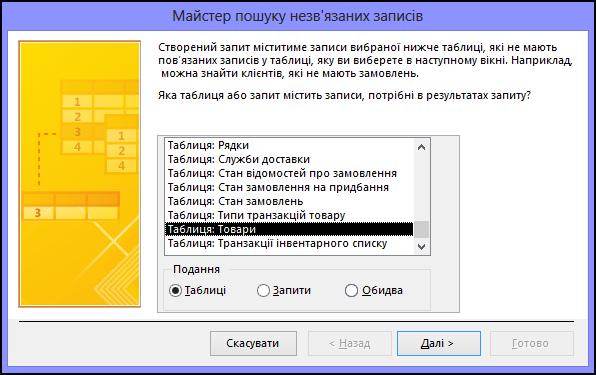 Виберіть таблицю або запит у діалоговому вікні майстра пошуку незв'язаних записів