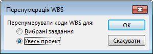 Зображення діалогового вікна «Перенумерація WBS»