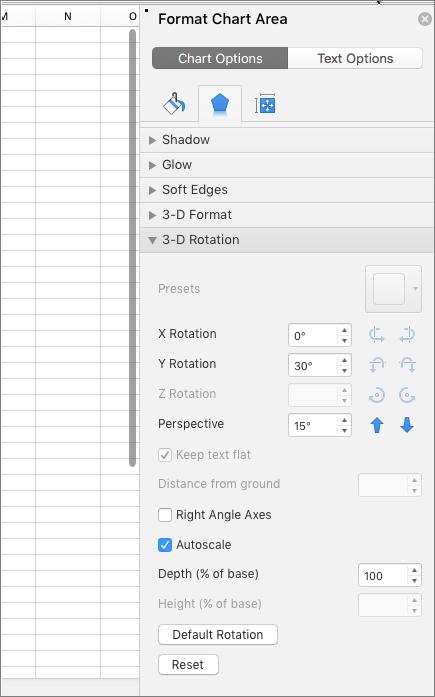 Format Chart Area pane