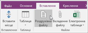 """Знімок екрана: кнопка """"Роздруківка файлу"""" в програмі OneNote2016"""
