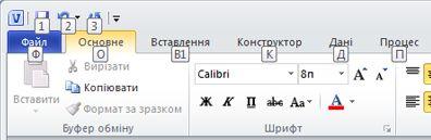 Стрічка програми Visio 2010 з відображенням підказок клавіш