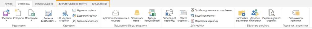 Знімок екрана із вкладкою ''Сторінка'', що містить численні кнопки для редагування, збереження, взяття на редагування та повернення з редагування сторінок публікації