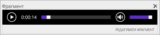 Знімок екрана програми SharePoint Online з фрагмент аудіо контроль області, категоризовані за загальну тривалість звукових файлів і містить елемент керування, щоб почати і припинити відтворення файлу.