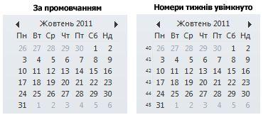 Календарик на панелі справ із номерами тижнів і без них