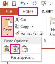 """У меню """"Вставити"""" клацніть піктограму """"Зберегти вихідне форматування""""."""