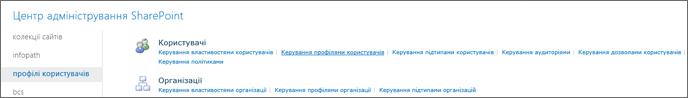 Керування профілями користувачів посилання на сторінці профілі користувача