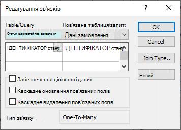 Діалогове вікно «Редагування зв'язків» із наявними зв'язками