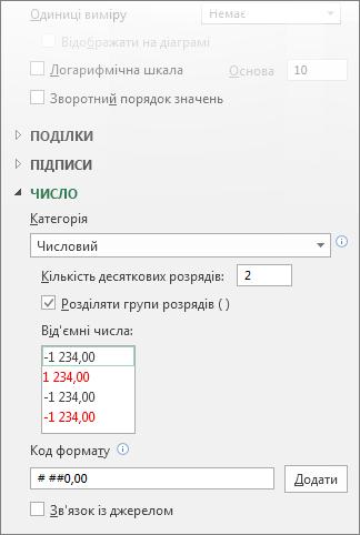 параметри формату чисел для осі значень