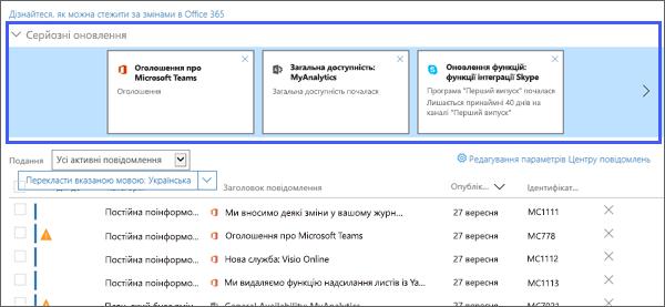 Знімок екрана: відображення основних оновлення розділу центру Messge.