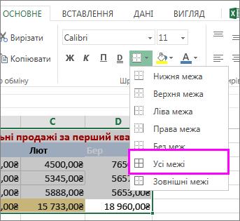 Додавання межі до таблиці або діапазону даних