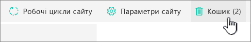 "Кнопка кошика сторінки ""Вміст сайту SharePoint Online"""