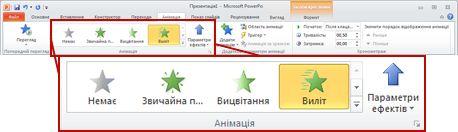 Вкладка «Анімація» на стрічці застосунку PowerPoint 2010