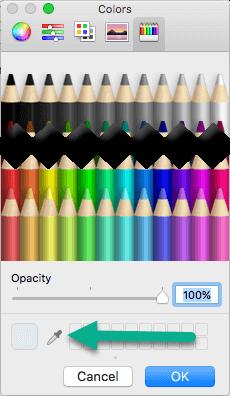 """Діалогове вікно """"кольори"""" включає в себе інструмент """"Піпетка""""."""