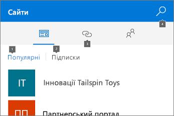 Знімок екрана вкладки сайтів