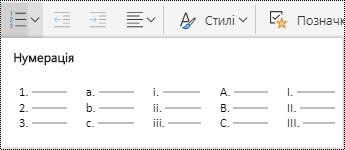 """Варіанти меню """"нумерований список"""" у програмі OneNote для Інтернету"""