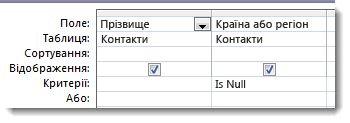 """Знімок екрана: поле """"Критерії"""" в конструкторі запитів з умовами Is Null"""