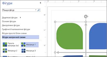 Список доступних фігур у лівій частині зображення та вибрана фігура в правій частині зображення