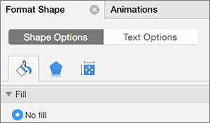 Format the shape in the properties pane on the right