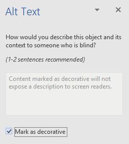 """Прапорець """"Позначити як декоративні"""" в області """"Текст заміщення"""" у Word (Win32)"""
