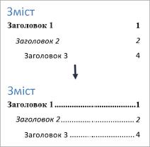 Знімок екрана: додавання заповнювачів до змісту