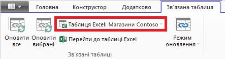 Указання таблиці Excel на стрічці зв'язаних таблиць