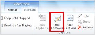 Вкладка ''Знаряддя для відеозаписів'', вкладка ''Відтворити'' з виділеною кнопкою редагування субтитрів