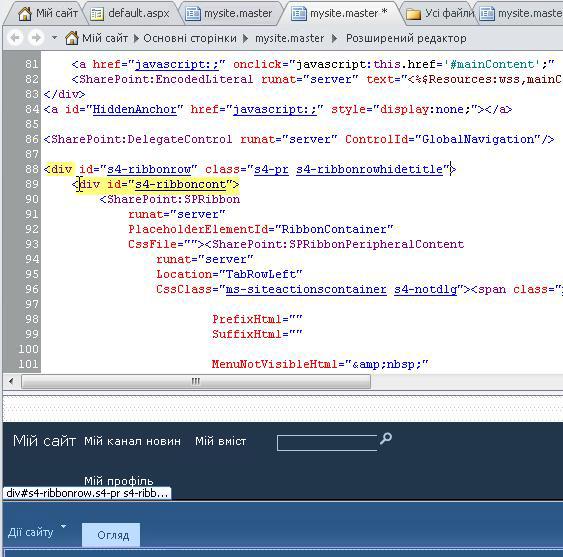Використання позначок Div для настроювання основної сторінки сайту «Мій сайт»