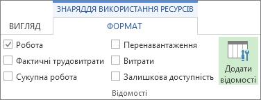 Вкладка ''Знаряддя використання завдань – Формат'', кнопка ''Додати відомості''