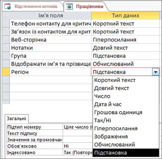 """Установлення типу даних """"Підстановка"""" для поля підстановки"""