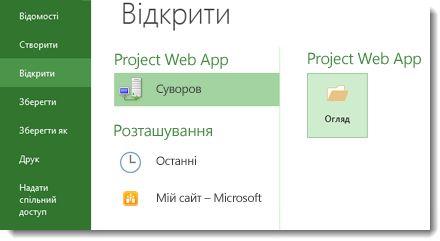 Кнопка «Огляд» для відкриття файлу веб-застосунку Project Web App