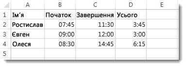 Проміжки часу, перелічені у стовпці D