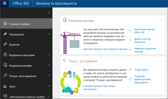 Головна сторінка Центру безпеки та відповідності Office365